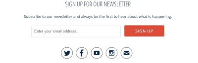 Example of About Us page email form sign-up