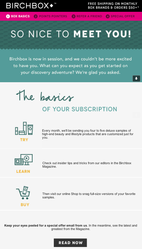 Welcome email example from Birchbox