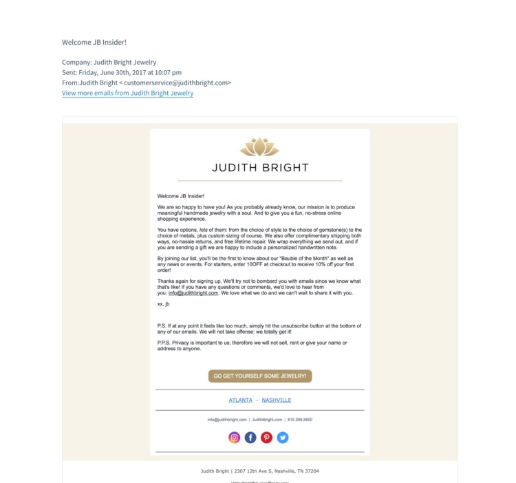 Welcome email example from Judith Bright