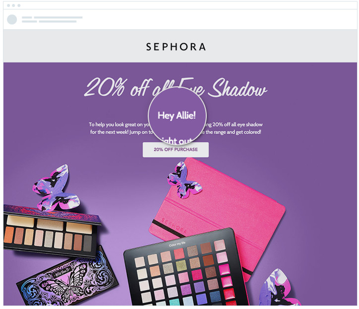 sephora personalization example in emails