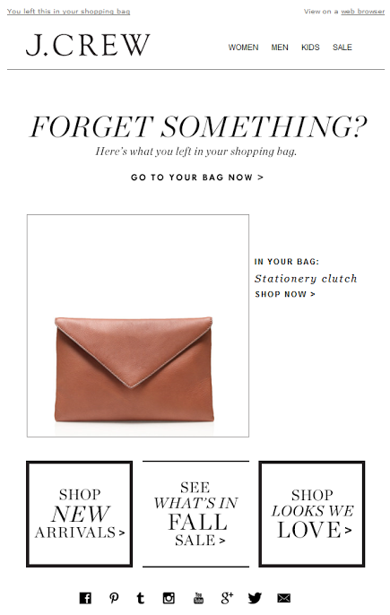 abandoned cart email from j crew