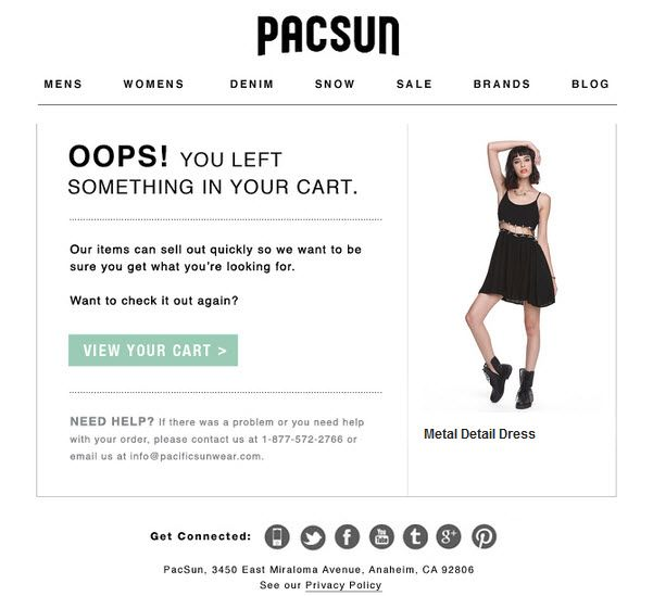 abandoned cart email from pacsun