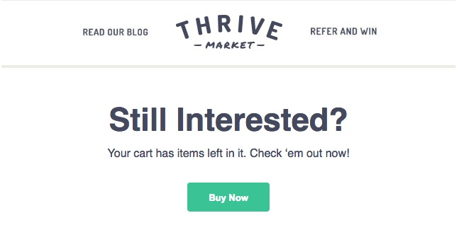 cart abandonment email from thrive
