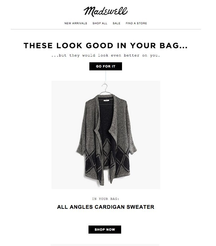 cart abandonment email from madewell