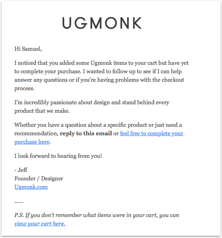 cart abandonment email from u g monk