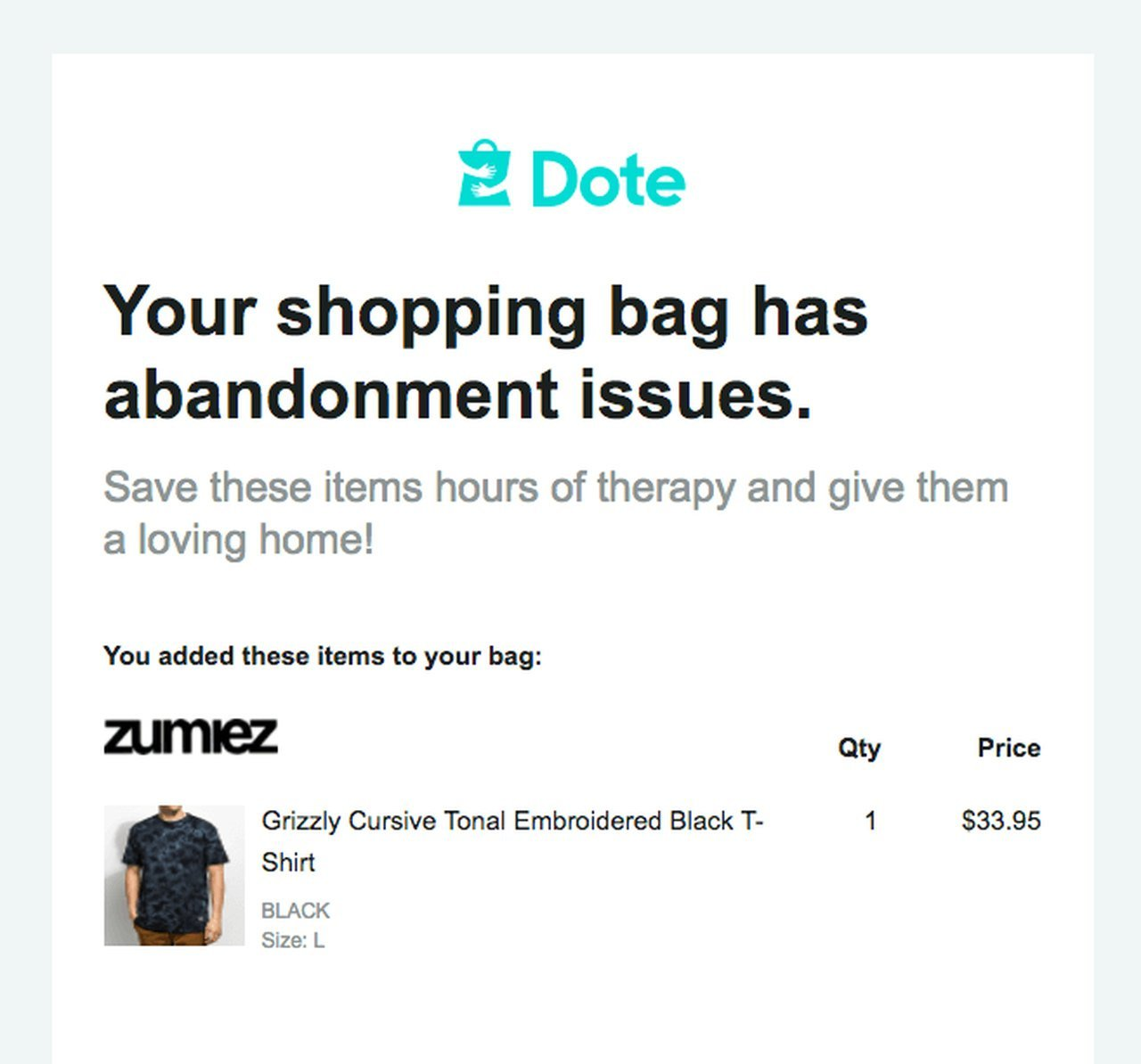 cart abandonment email dote