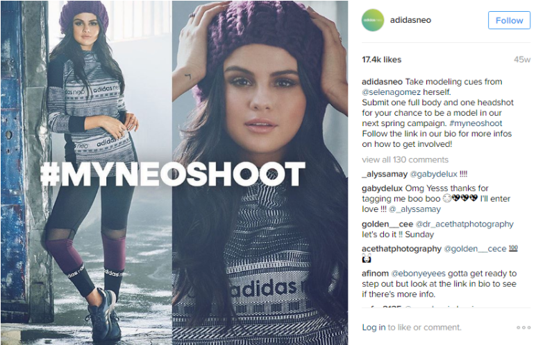 Example of influencer campaign from Adidas