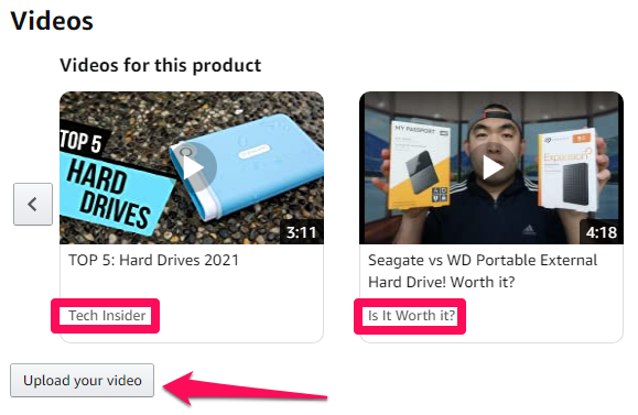 adding videos to compare products