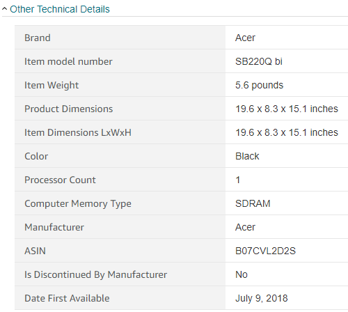 amazon - products technical details