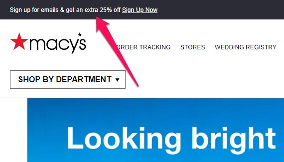 discount marketing example - macys