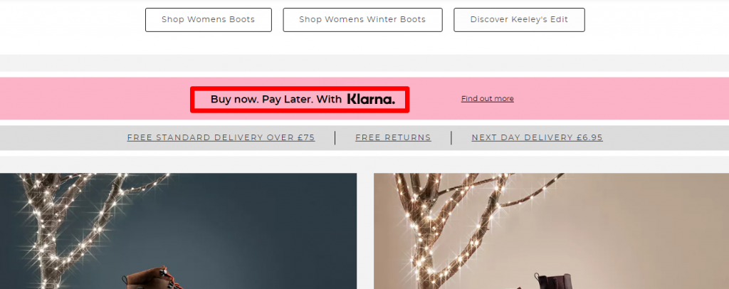 klarna example - buy now , pay later
