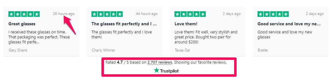 trustpilot reviews as an example of trust element