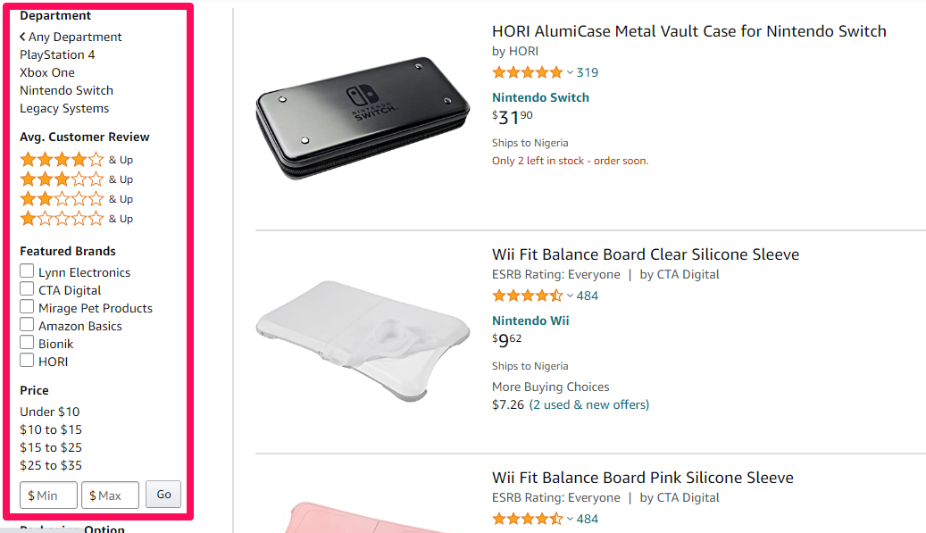 Example of smart and intuitive filtering by Amazon