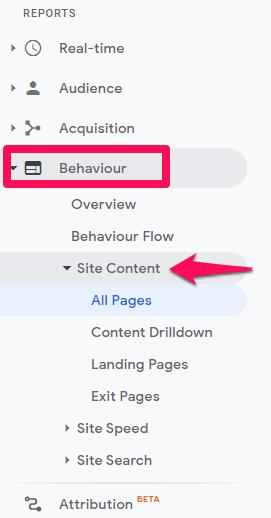 Google analytics behaviour report