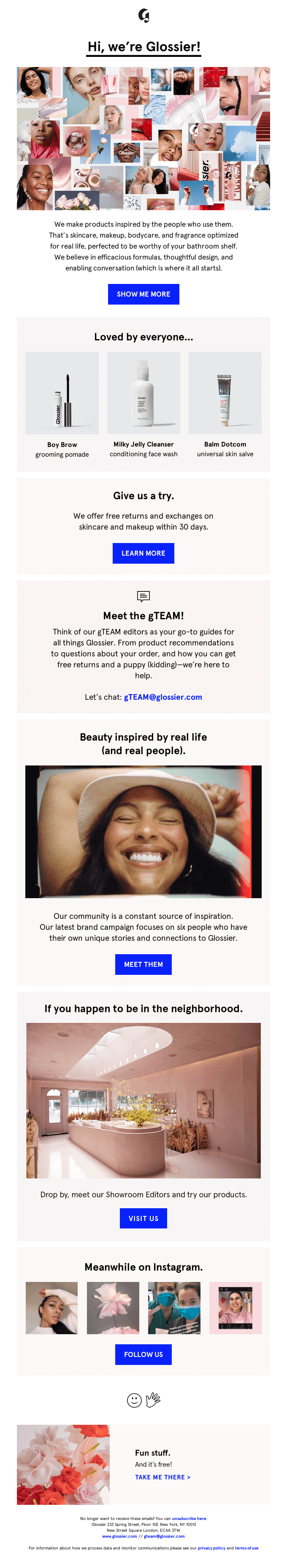 upselling through welcome emails - glossier