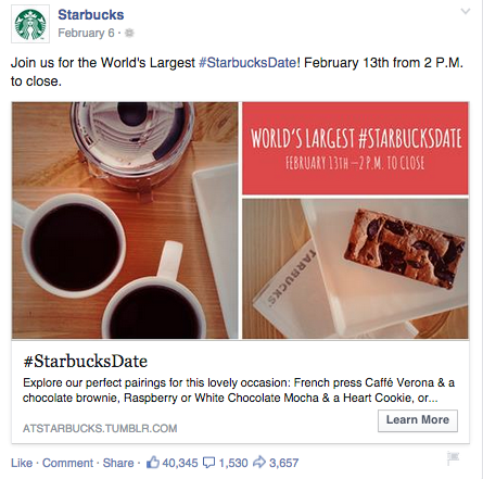 example of a facebook ad by Starbucks