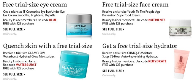 example of free trail of products by Sephora