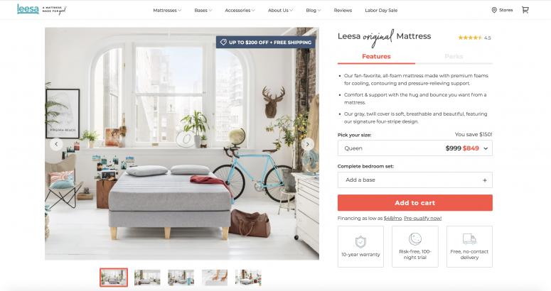 Leesa Product Page visuals