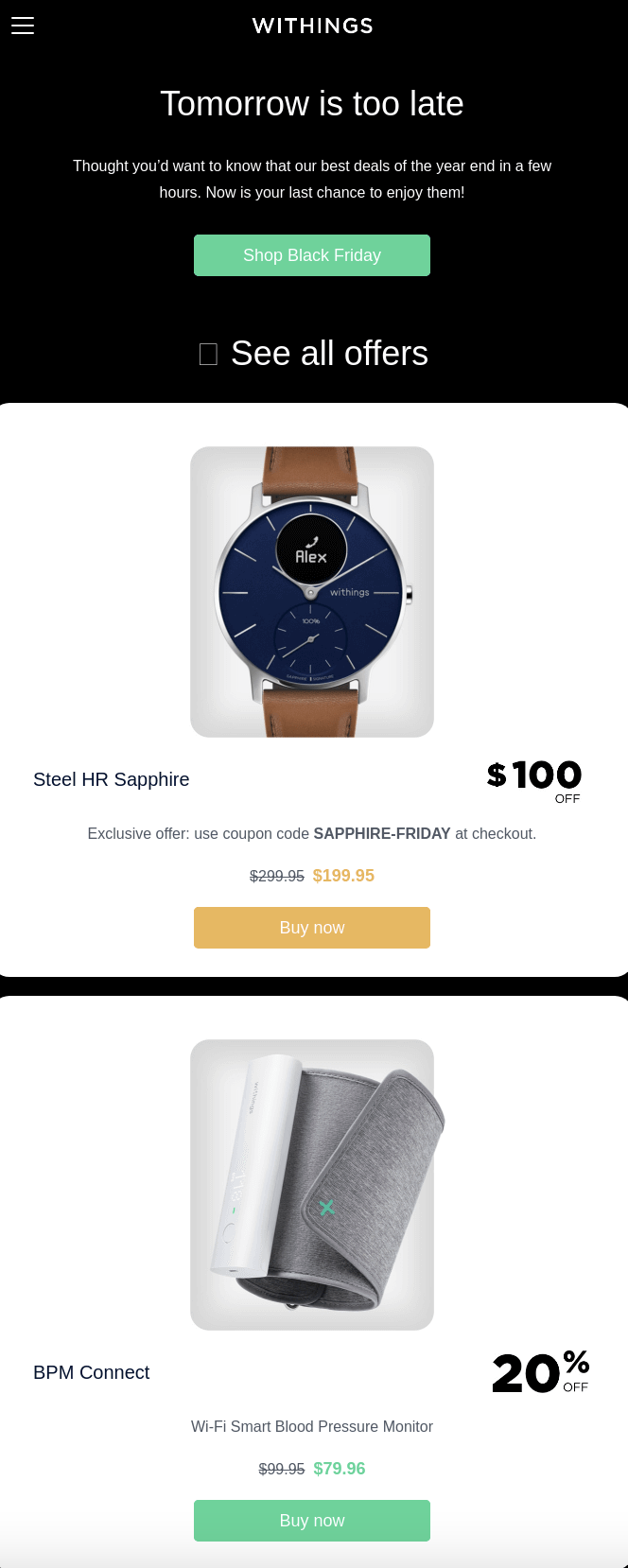 withings promotional emails