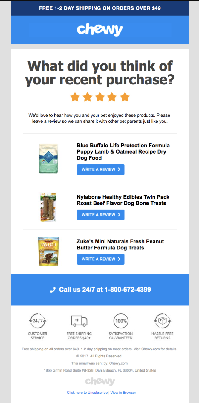 chewy's ecommerce automated emails