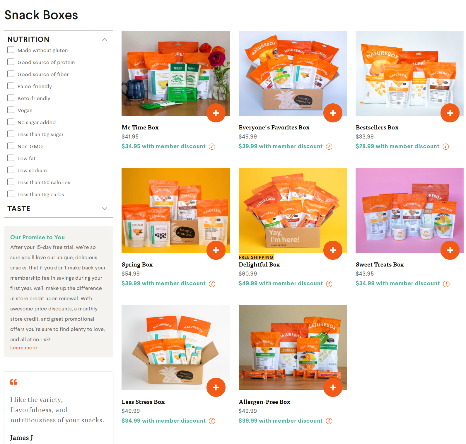 Bundle pricing example from Naturebox