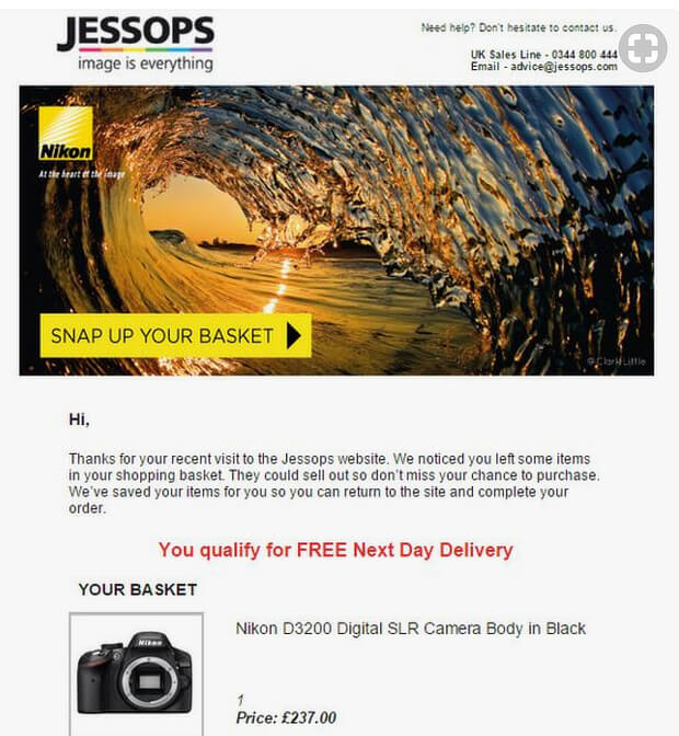 Email example from jessops
