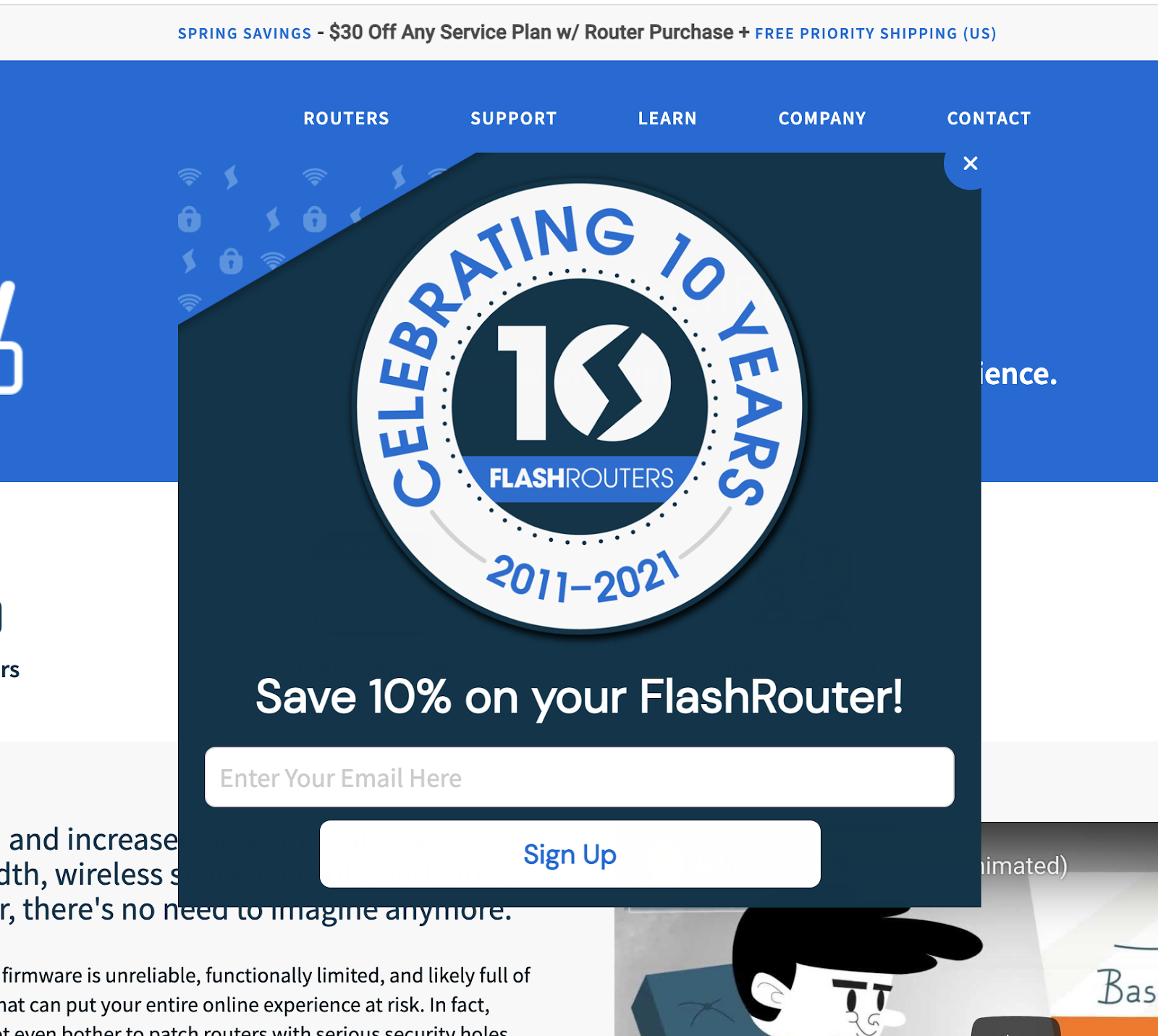 flashouters - gated content popup