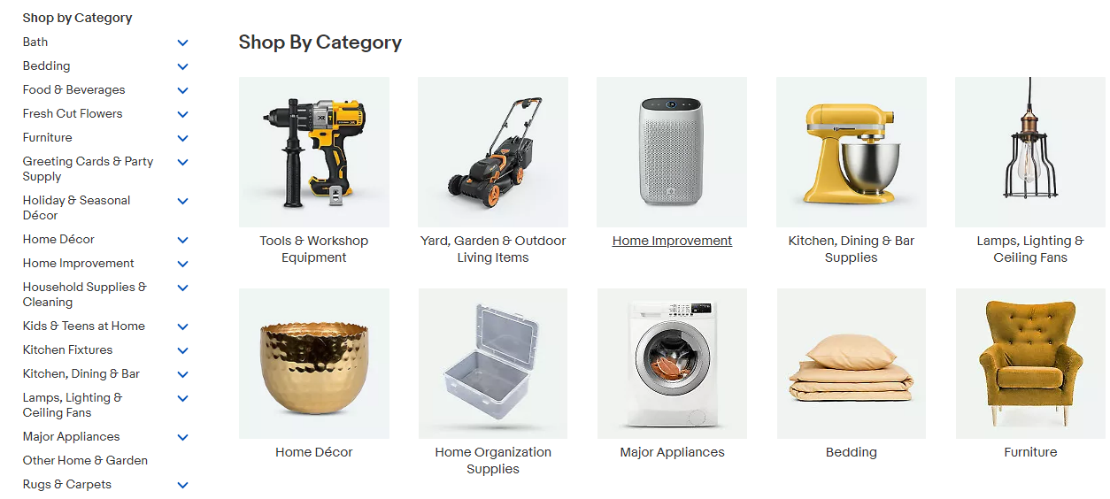 eBay uses an intermediary category page