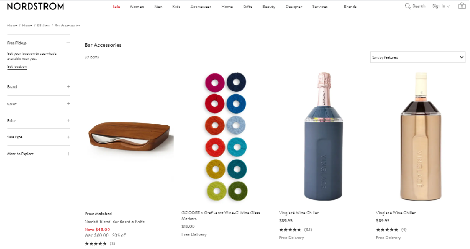 Nordstrom's eCommerce website uses the product listing category page.