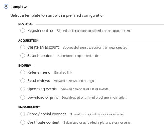 choosing a template on google analytics
