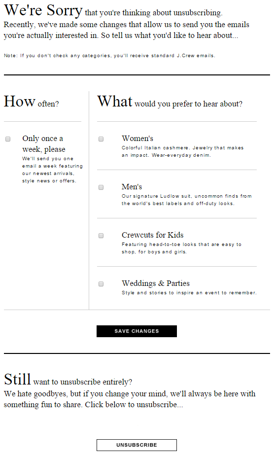 example of an unsubscribe page from j crew