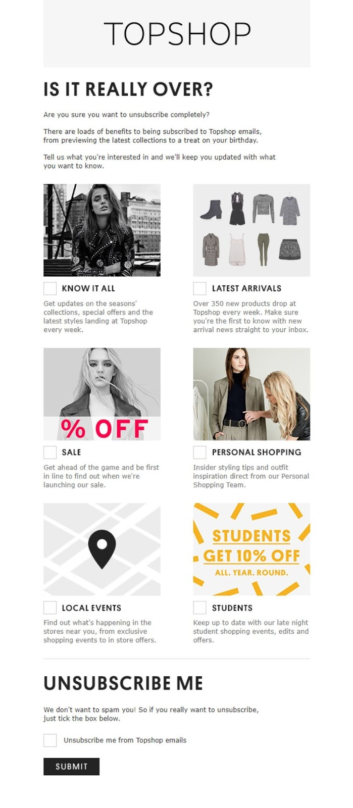example of an unsubscribe page from top shop
