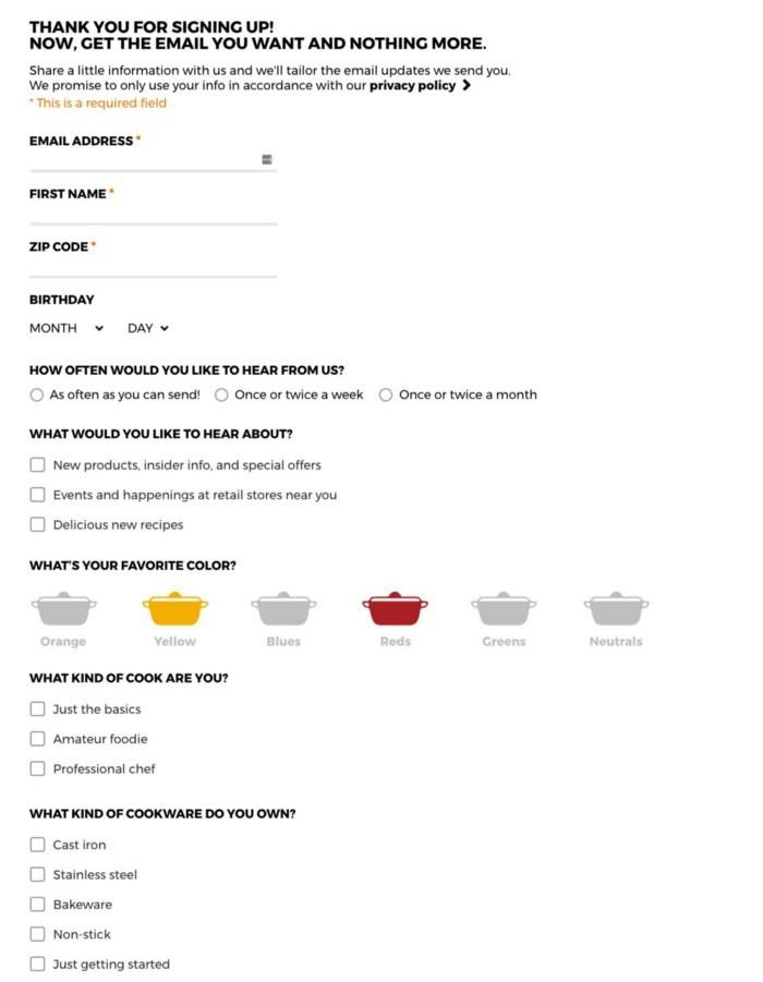 example of an unsubscribe page from le creuset