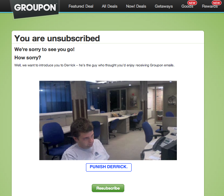 example of an unsubscribe page from groupon