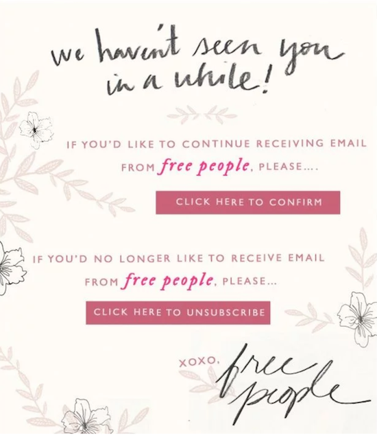 example of an unsubscribe page from free people