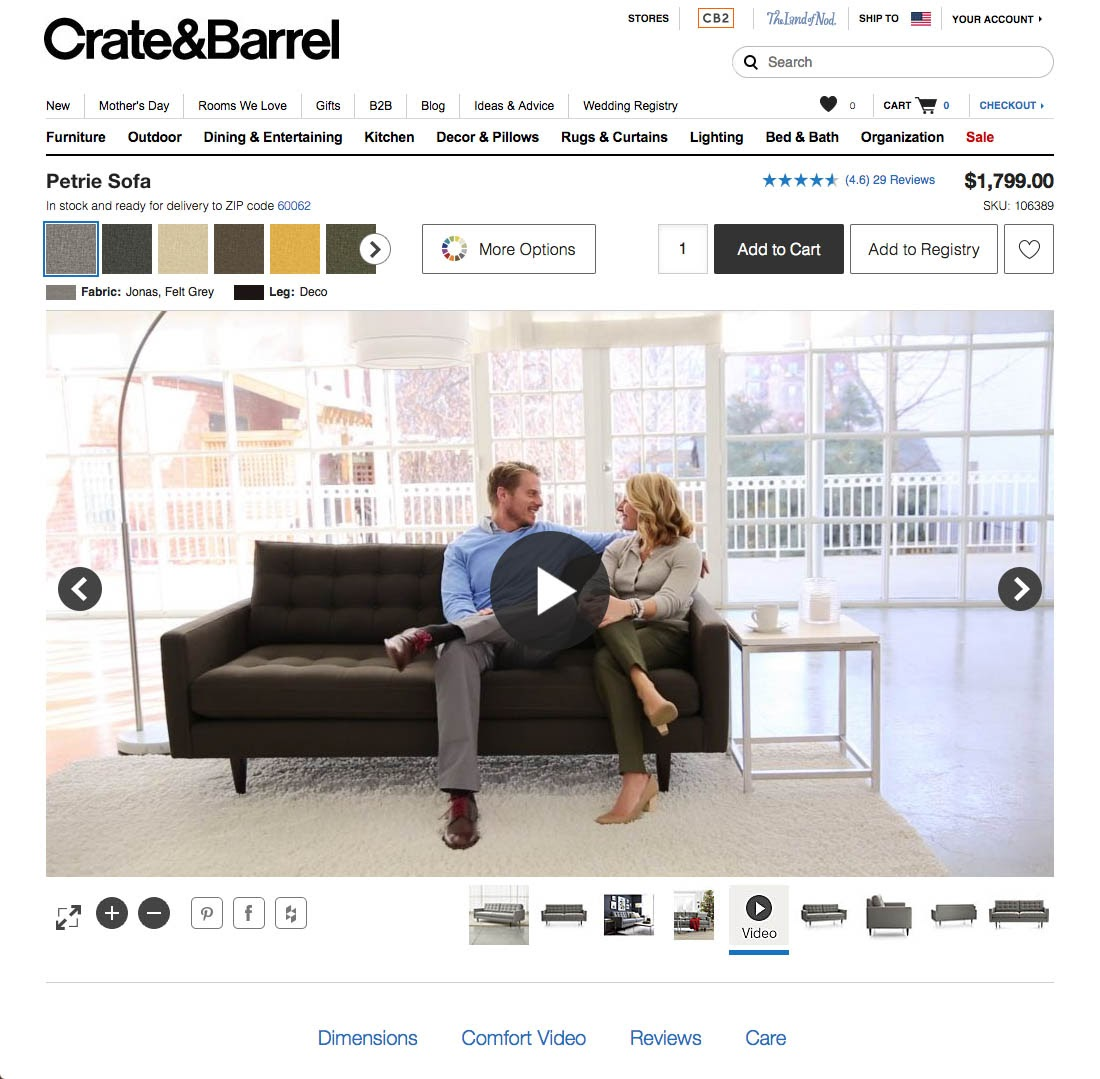 crate and barrel example of product video