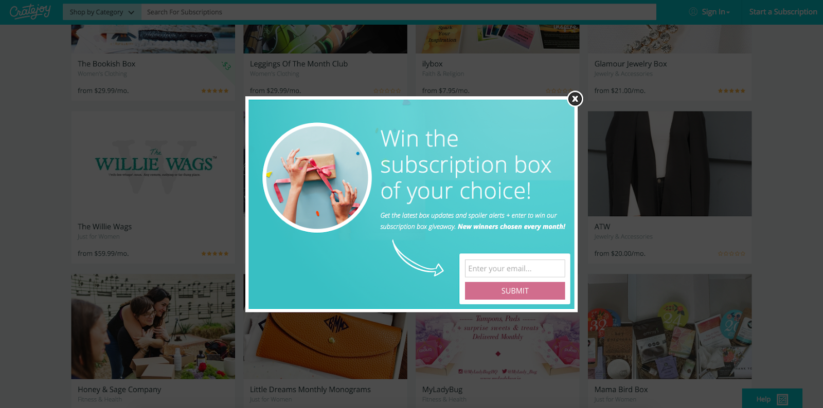 example of popup without urgency