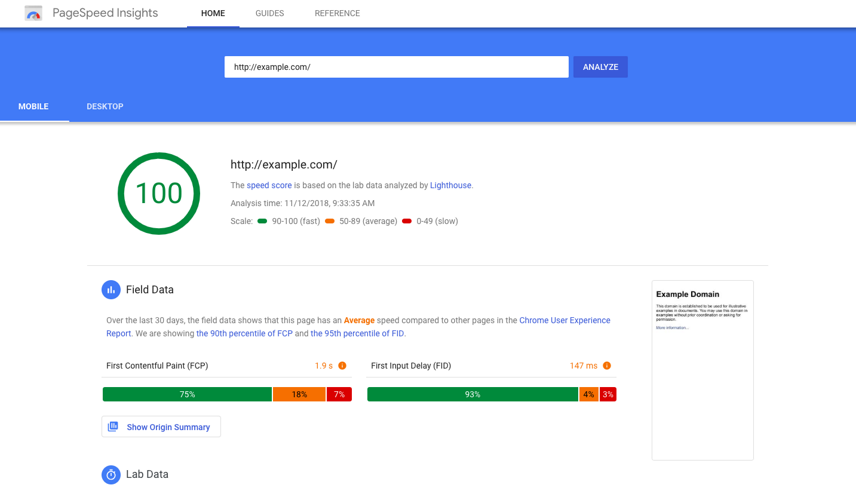 example of google page speed insights data for improving eCommerce conversion rates