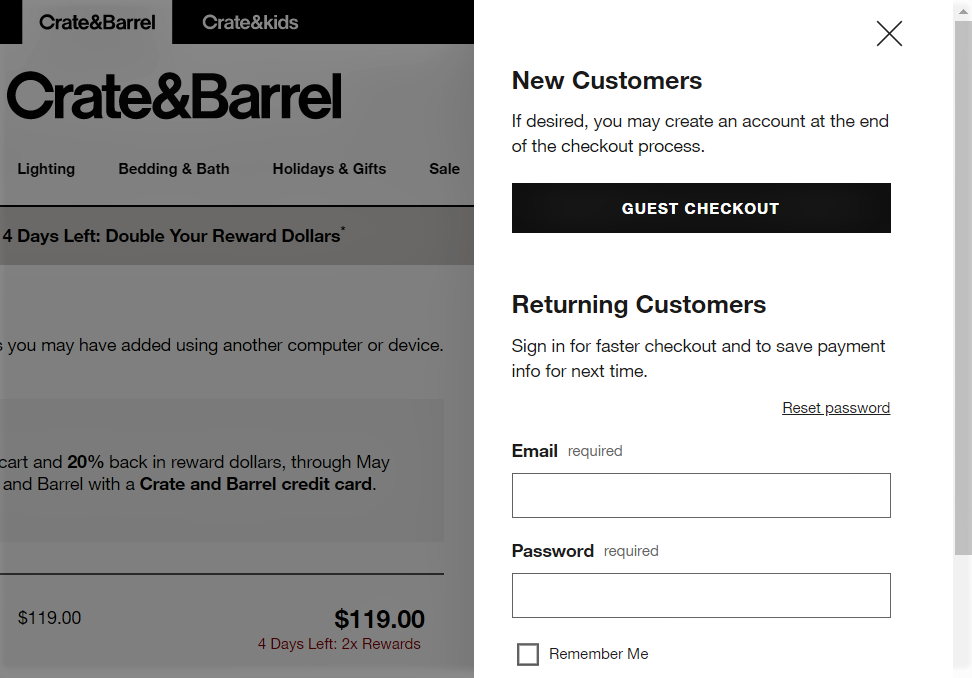 example of guest checkout by crate & barrel