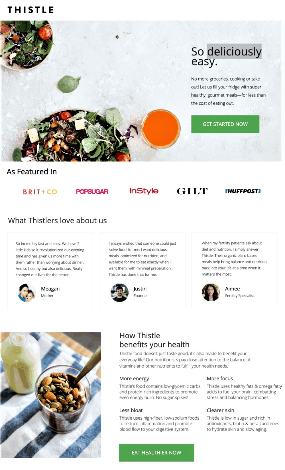 example of landing page optimization from thistle