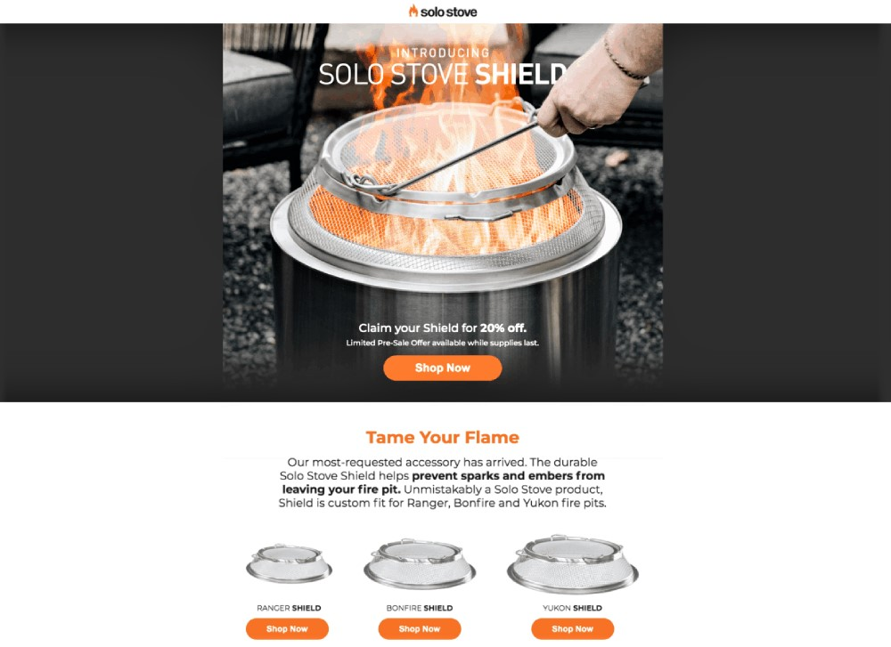 landing page example from solo stove