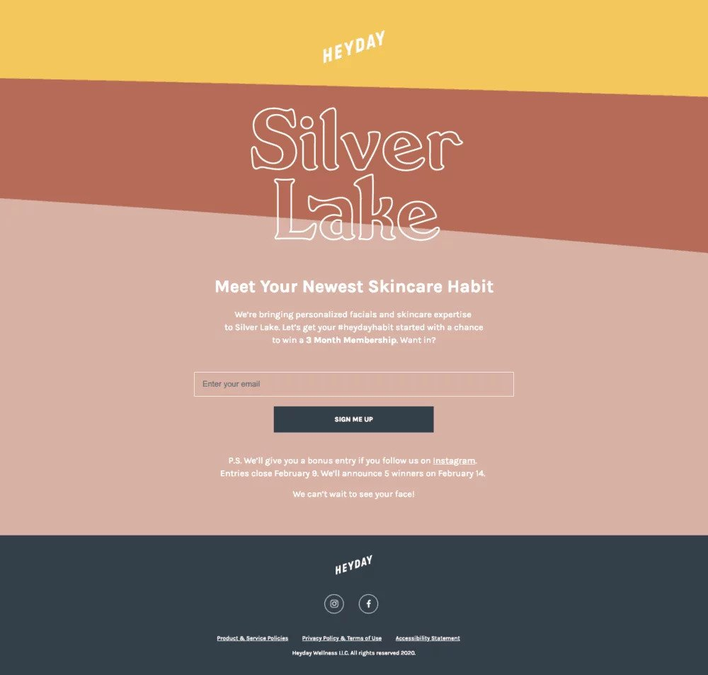 example of landing page optimization from heyday