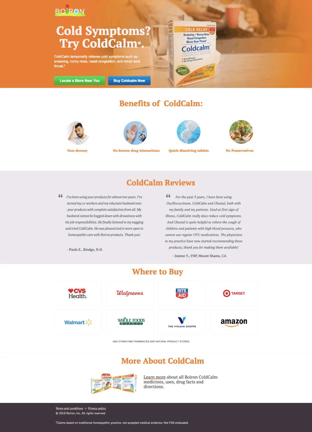 example of landing page optimization from coldcalm
