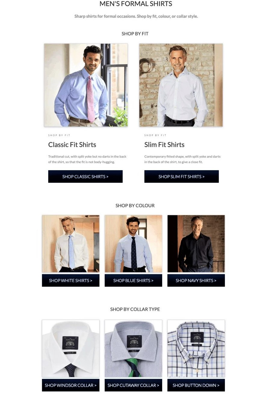 example of landing page optimization from saville row