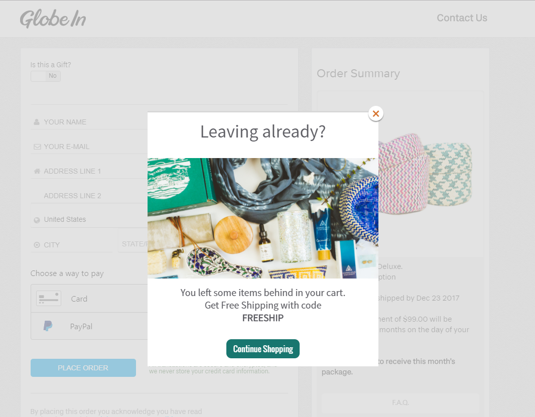 example of an exit-intent popup by GlobeIn
