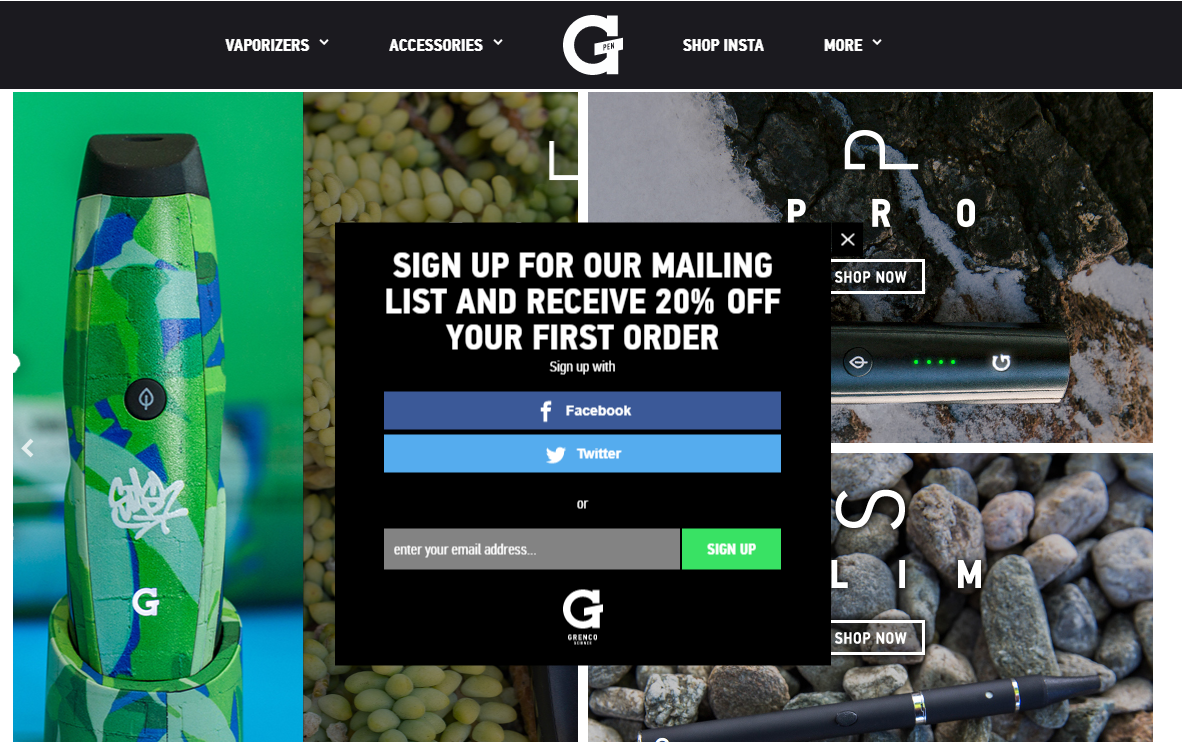 example of Shopify email popups by Grenco Science