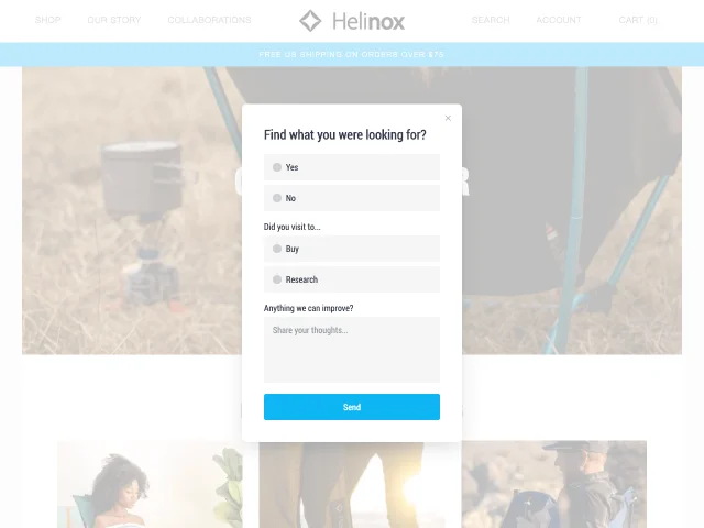 example of a Shopify popup form by Helinox