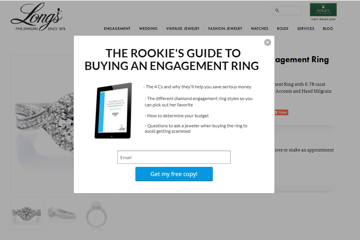 Long's example of well-written Shopify popups