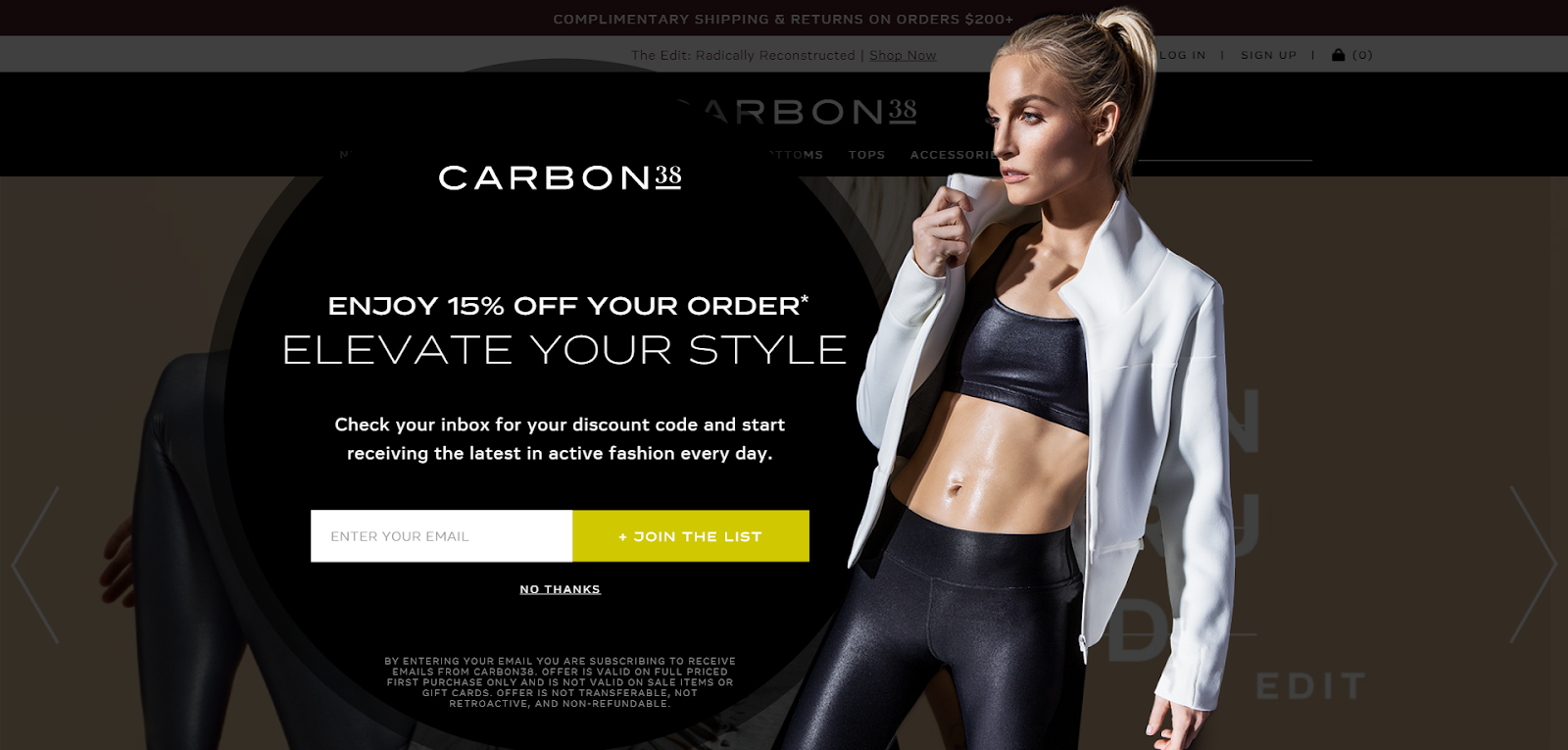 Carbon38's Shopify email pop-ups