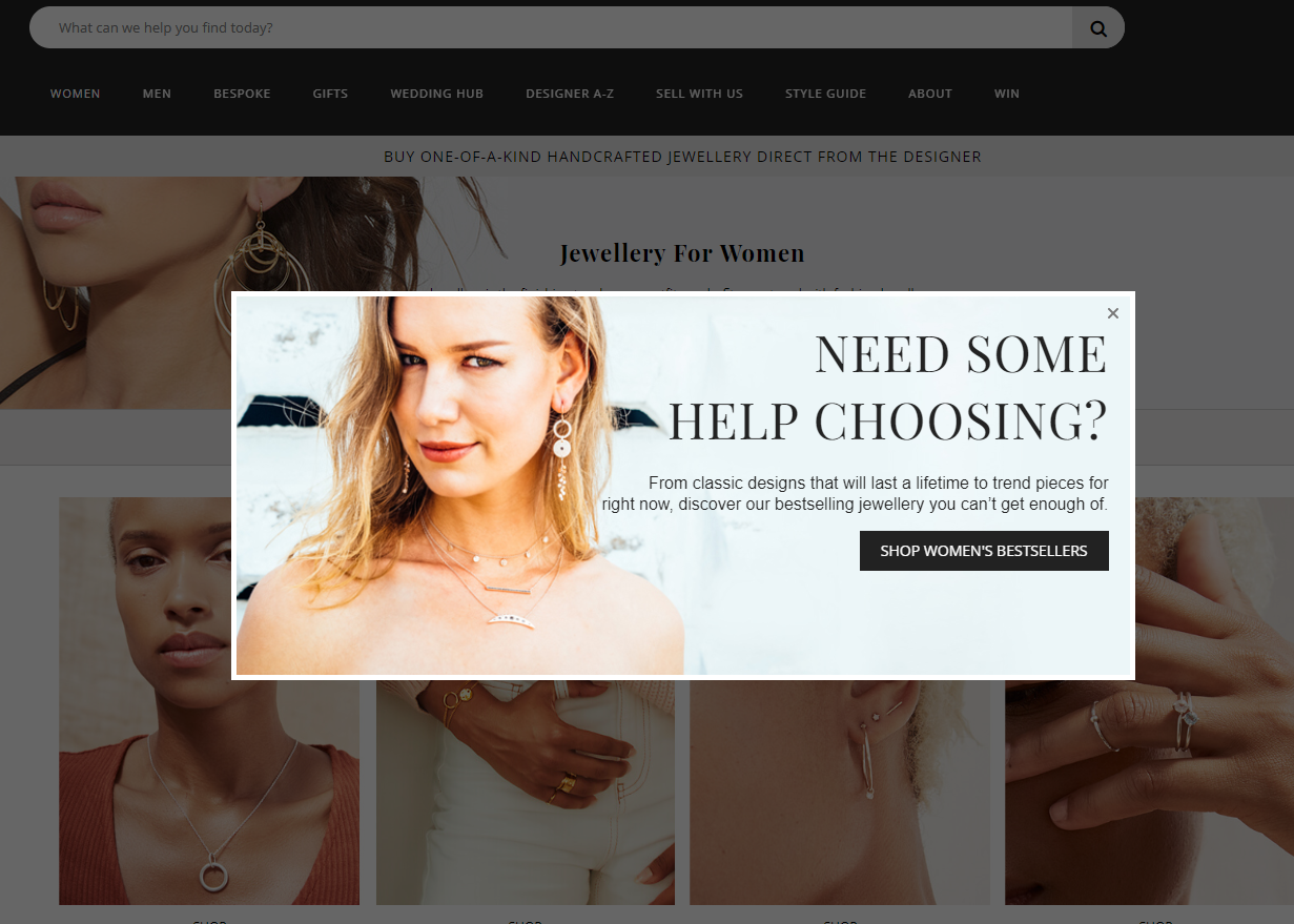 example of exit intent popup by JewelStreet